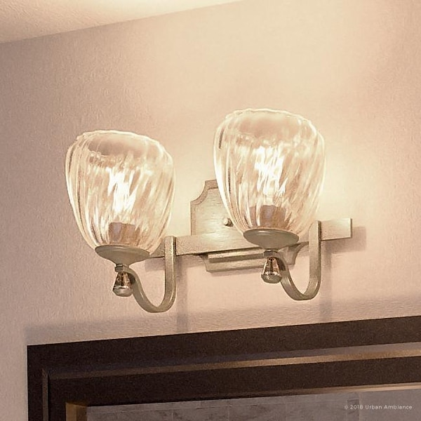 """Luxury Crystal Bathroom Vanity Light, 7.5""""H x 14""""W, with French Country Style, Antique Silver Finish by Urban Ambiance. Opens flyout."""