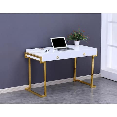 Best Master Furniture White Lacquer 2-drawer Writing Desk