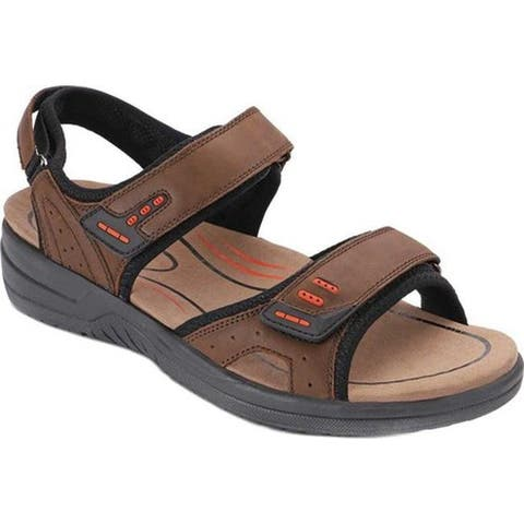Orthofeet Men's Cambria Sandal Brown Full Grain Leather