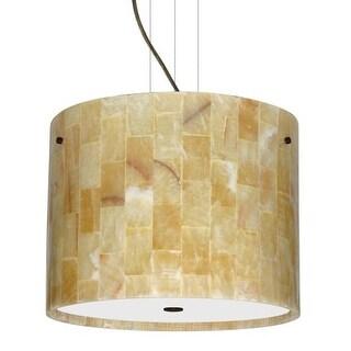 Besa Lighting 1KV-4007MX-LED Tamburo 3 Light LED Cable-Hung Pendant with Mosaic Onyx Stone Shade