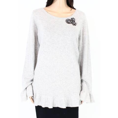Charter Club Women Sweater Gray Size 1X Plus Embellished Flounce Sleeve
