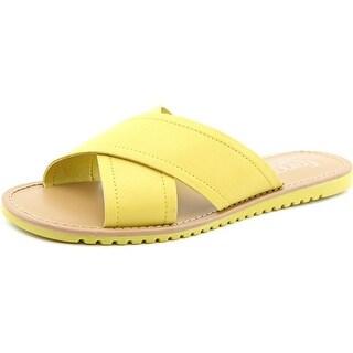 Franco Sarto Quentin Women Open Toe Leather Yellow Slides Sandal