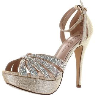 De Blossom Collection Womens Vice-229 Stunning Sparkle Dress Party Sandal Pumps