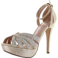 De Blossom Collection Womens Vice-229 Stunning Sparkle Dress Party Sandal Pumps