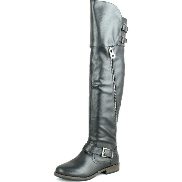 Bamboo Womens Montana-08 Double Buckle Shaft Round Toe Knee High Zipper Riding Boots