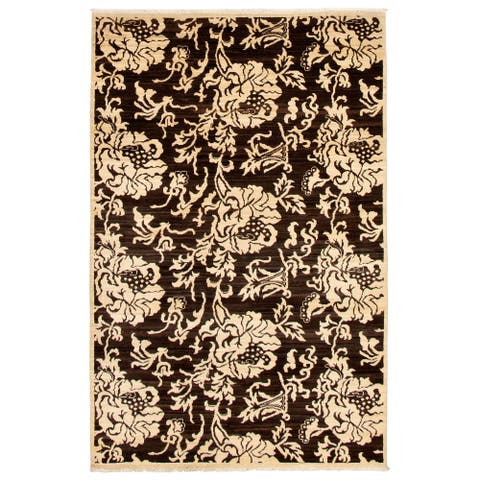 Hand-knotted Pak Finest Transitional Cream Wool Rug