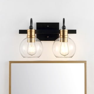 Link to Marais Iron/Glass Rustic Vintage LED Vanity Light, Black/Brass Gold by JONATHAN  Y Similar Items in Sconces