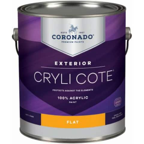 Coronado 10-34-4 Cryli Cote 100% Acrylic Exterior Paint, Flat, Deep Base, 1 Qt