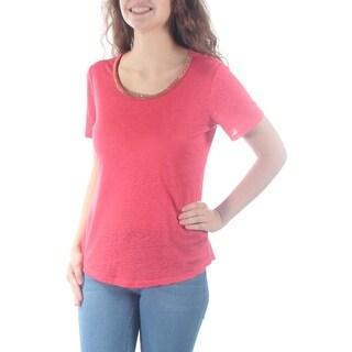 MAISON JULES $39 Womens New 4736 Orange Embellished Short Sleeve Top XS B+B
