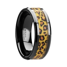 NAMIBIA Black Ceramic Wedding Band with Cheetah Print Animal Design Inlay