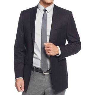 Calvin Klein Mens Two-Button Suit Jacket Checkered Notch Lapel