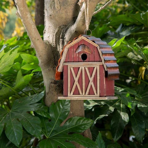 "Glitzhome 10.25""H Wood Red Barn Garden Birdhouse"