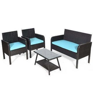 4 pcs Patio Rattan Wicker Table Chair Sofa Set with Cushion Seat