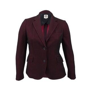 Anne Klein Women's Striped 2-Button Blazer Jacket - cordoba red/black