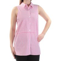 VINCE CAMUTO Womens Pink Striped Sleeveless Collared Button Up Top  Size: S