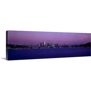 """""""Panoramic view of city skyline, Seattle"""" Canvas Wall Art"""