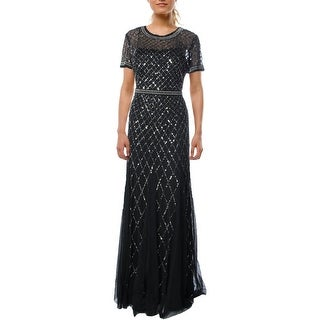 Adrianna Papell Womens Mesh Embellished Semi-Formal Dress