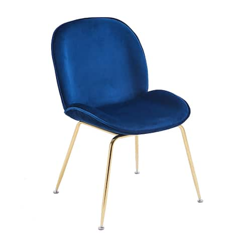Porthos Home Otis Dining Chair, Suede Upholstery, Gold Legs, Armless