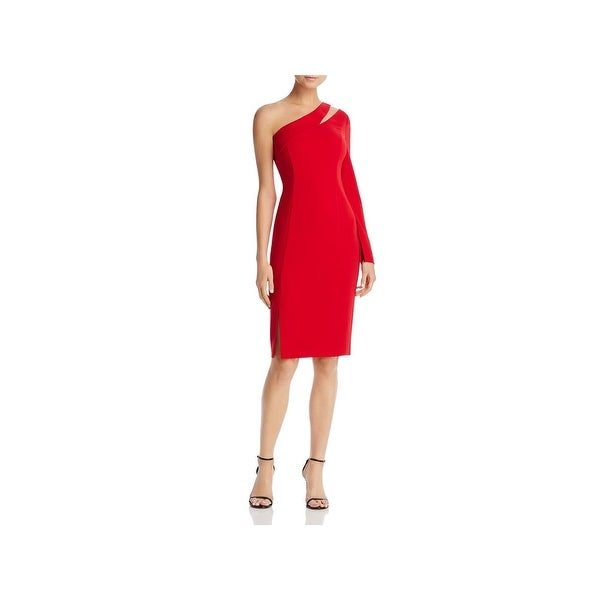 Laundry by Shelli Segal Womens Cocktail Dress One Shoulder Crepe