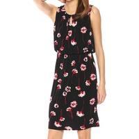 Nine West Black Womens Size 6 Floral Print Blouson Sheath Dress
