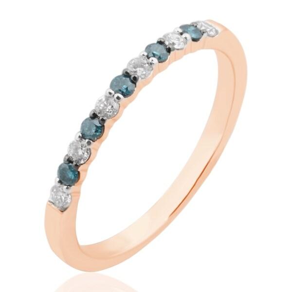 Beautiful 0.25 Carat Natural Blue & White Diamond Anniversary Band Ring
