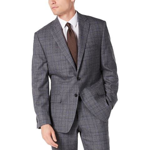 Michael Kors Mens Two-Button Blazer Wool Blend Glen Plaid - Grey/Blue