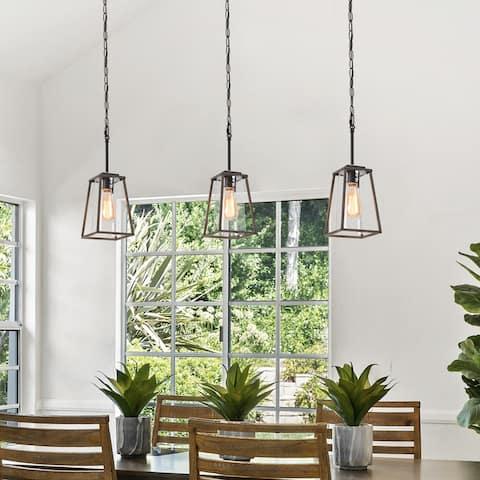 "Rustic Farmhouse 1-Light Geometric Pendant Lighting Glass Shade Fixture - L6""x W6""x H 14"""