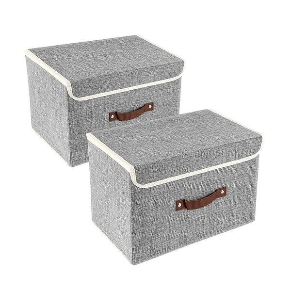 Enova Home Light Grey Fabric Storage Bins (Set of 2) - N/A. Opens flyout.