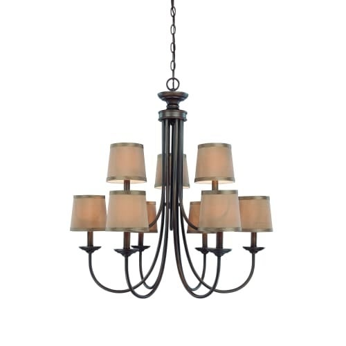 Jeremiah Lighting 26129 Spencer 27.5 Inches Wide Two Tier 9 Light Candle Style Chandelier - Without Shades