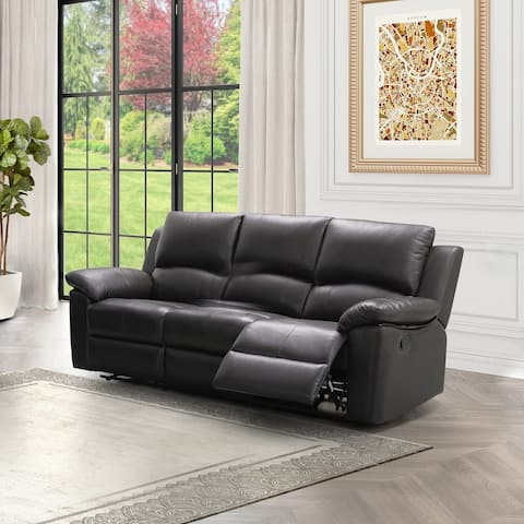 Abbyson Westwood Brown Top Grain Leather Reclining Sofa