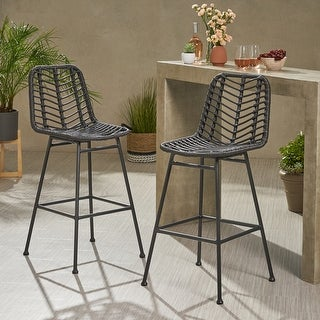 Link to Sawtelle Outdoor Wicker Barstools (Set of 2) by Christopher Knight Home Similar Items in Dining Room & Bar Furniture