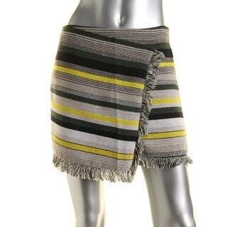 Ella Moss Womens Fringe Faux-Wrap Wrap Skirt