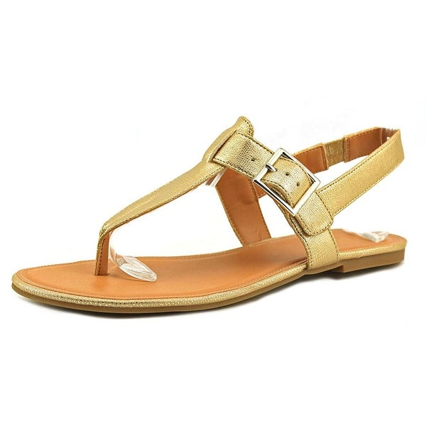 Style & Co Rachael Women Open Toe Synthetic Gold Thong Sandal