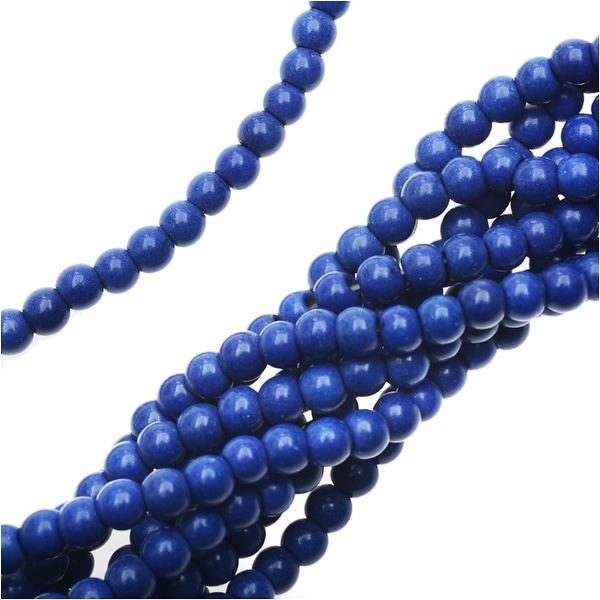 Dyed Magnesite Gemstone Beads, Round 4mm, 15.5 Inch Strand, Lapis Blue