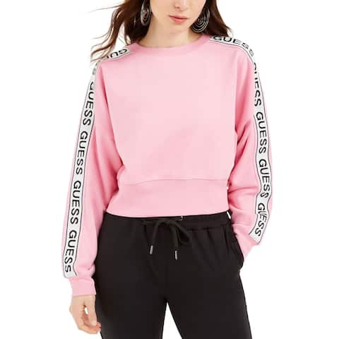 Guess Womens Sweater Gum Pop Pink Size Large L Hedda Logo-Tape Pullover