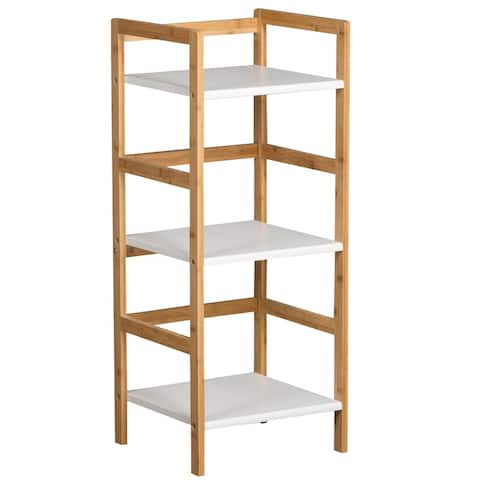 3 Tier Solid Bamboo Frame Tower Bookshelf