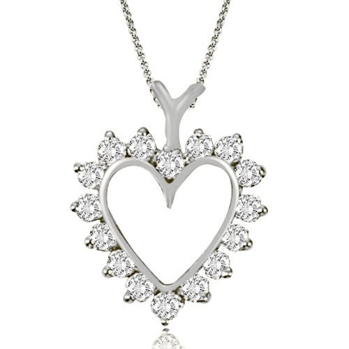 0.50 cttw. 14K White Gold Round Cut Diamond Heart Shape Pendant