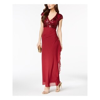 Link to BETSY & ADAM Womens Burgundy Cap Sleeve Maxi Evening Dress  Size 12P Similar Items in Petites