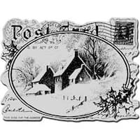 """Snowy Postcard - Stampendous Christmas Cling Rubber Stamp 4""""X6"""" Sheet"""