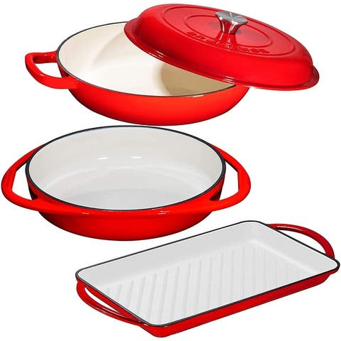 Bruntmor's Enameled Cast Iron 3 Piece Gift Set, 3.8 Quart Braiser Pan with Lid - Cast Iron 3 Piece Gift Set