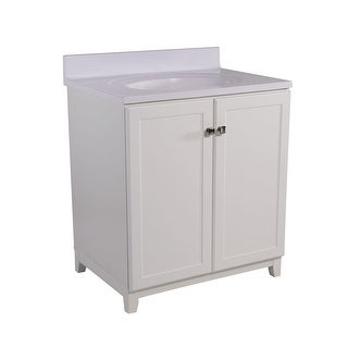 """Design House 612978 31"""" Freestanding Vanity Cabinet with Marble Vanity Top - White"""