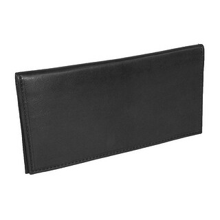 Paul & Taylor Black Leather Checkbook Cover Wallet - unisex