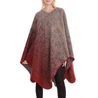 QZUnique Womens Sweater Cape Pullover Shawl Batwing Sleeve Knit Poncho
