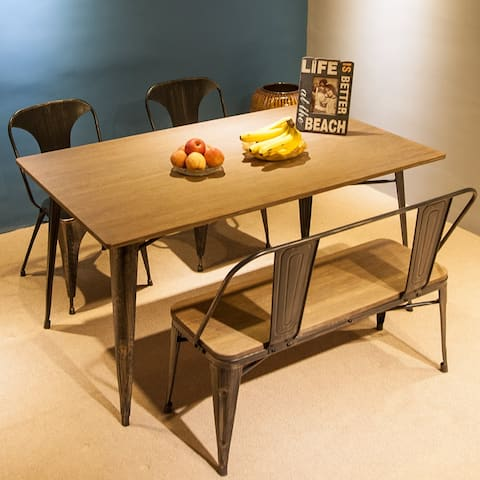 4PCS Antique Dining Set with 1 Table&1 Bench&2 Chair, Rubber Feet Caps