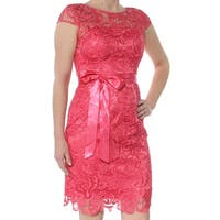 ADRIANNA PAPELL Womens Pink Lace Cap Sleeve Cap Sleeve Jewel Neck Above The Knee Sheath Party Dress  Size: 2
