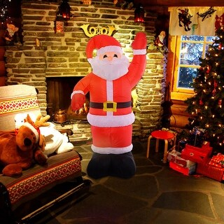 Costway 8Ft Airblown Inflatable Christmas Xmas Santa Claus Decoration Lawn Yard Outdoor