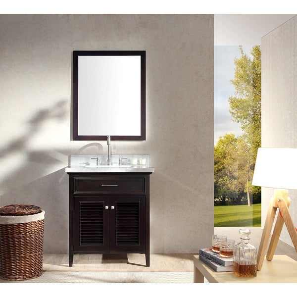 """Ariel D031S Kensington 31"""" Free Standing Vanity Set with Wood Cabinet, Stone Top, 1 Undermount Sink and 1 Mirror"""