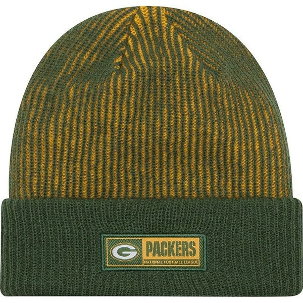 finest selection de296 83b21 Shop New Era Green Bay Packers Sideline Tech Knit Stripe Beanie Cap Hat NFL  11288977 - Free Shipping On Orders Over  45 - Overstock - 17743791