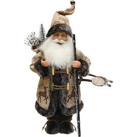 """16.5"""" Country Rustic Santa Claus Carrying a Wooden Sled and Sack of Gifts"""