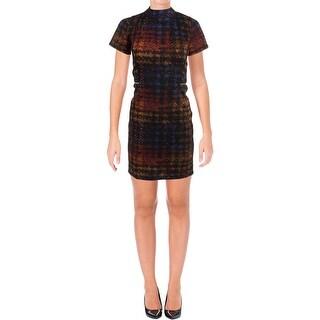 Tahari ASL Womens Petites Wear to Work Dress Printed Short Sleeves